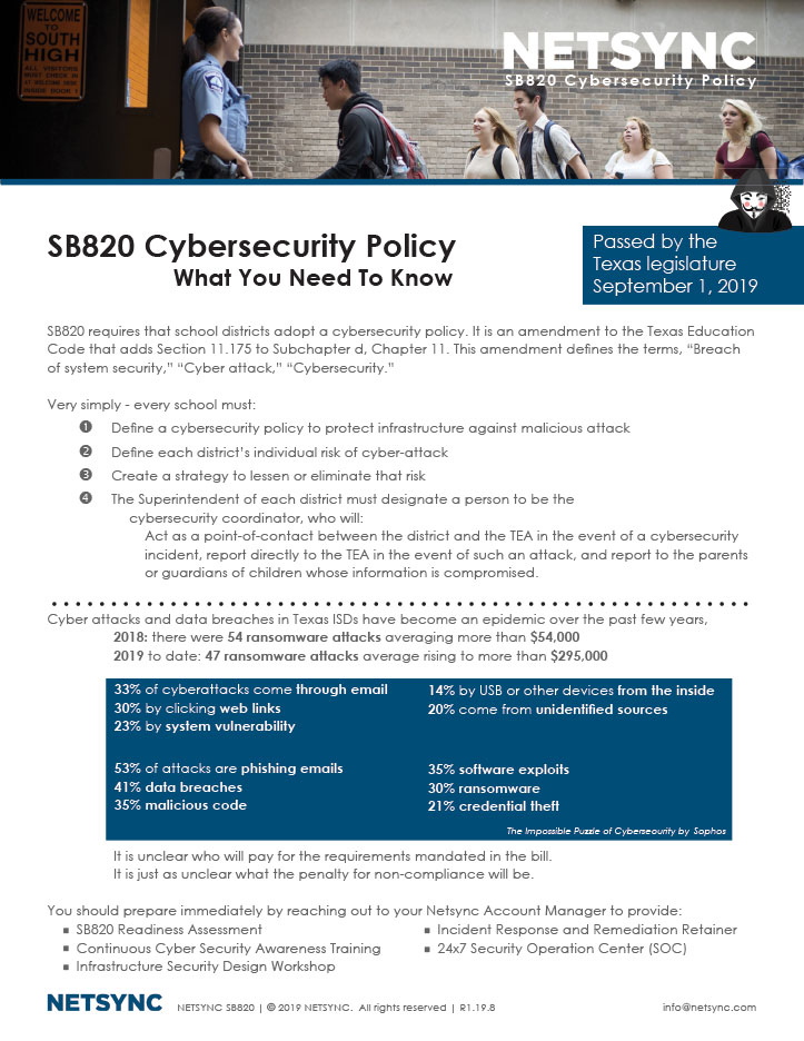 Netsync SB820 Cybersecurity Policy Collateral